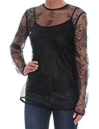 7fa2093c96694c DKNY Womens Black Lace Long Sleeve Illusion Neckline Tunic Top Size: XS