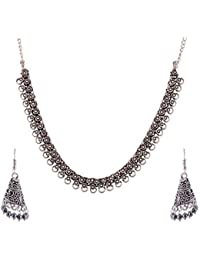 Ganapathy Gems Silver Metal Strand Necklace Set For Women (GPJC24)
