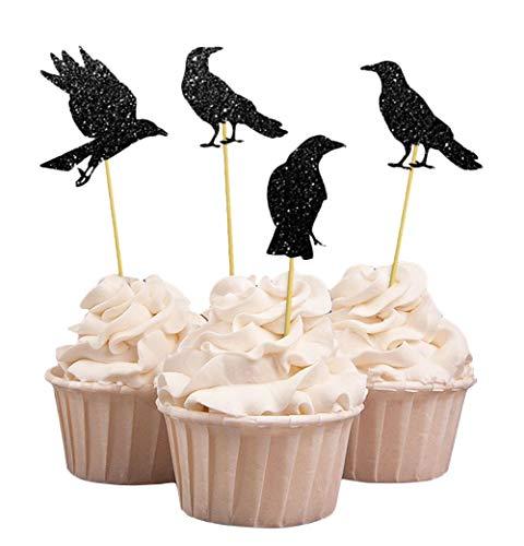Darling Souvenir, Halloween-Party-Glitter Black Crow-Kuchen-Deckel, Party-Nachtisch-Kuchen-Dekorationen - Packung mit 20