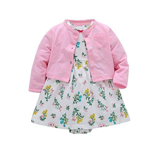 tel Kleidung Set,OverDose Neugeborenen Baby Mädchen Floral Blumen Bluse Kleid + Feste Mantel Outfits Kleidung Set(6 Monate,Rosa) (Ballerina Kleidung Für Mädchen)