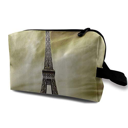 Travel Hanging Cosmetic Bags Eiffel Tower Sunset Glow Multi-functional Toiletry Makeup Organizer - Tan Satteltasche