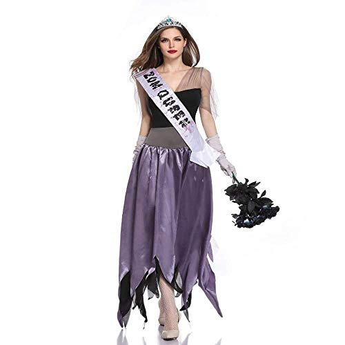 Fashion-Cos1 Hexe kostüm für Frauen Geist Braut Kleid Hexe böse kostüm Erwachsene Halloween Karneval Party Cosplay kostüm (Color : Purple, Size : M)