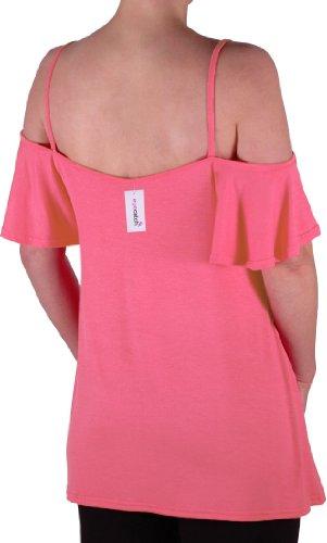 EyeCatch TM - Haut fines bretelles larges manches tombant sur les épaules - Cherie - Femme Corail