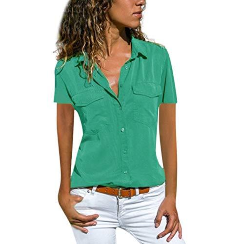 Bluse Damen Elegant Bluse Oversize Kurzarm Shirt mit V-Ausschnitt T-Shirt Frauen Casual Einfarbig Umlegekragen Hemd Tops mit Taschen und Knöpfe Sommertop (S-5XL)