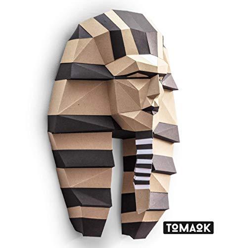 TOMAOK Papercraft Kit (Bereits ausgeschnittenen Einzelteilen) - Pharao: Falten, zusammenkleben - fertig ist die Skulptur! 300g dickes Kartonpapier