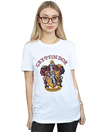 Harry Potter Damen Gryffindor Crest Boyfriend Fit T-Shirt Weiß Small