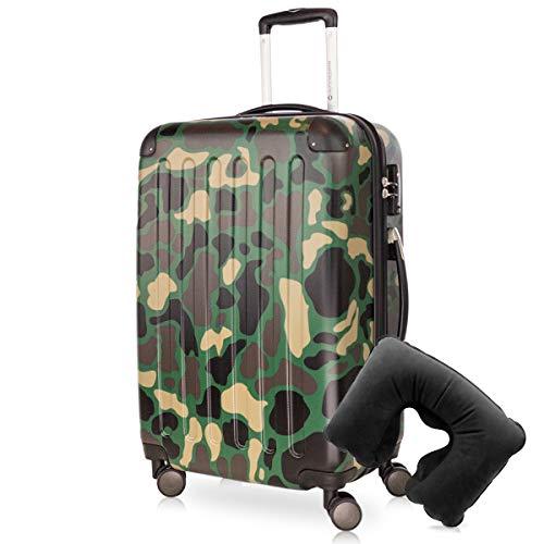 Hauptstadtkoffer - Spree Hartschalen-Koffer Koffer Trolley Rollkoffer Reisekoffer Erweiterbar, 4 Rollen, TSA, 65 cm, 74 Liter, Camouflage +Reise Nackenkissen
