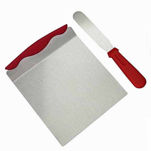 Autumn Love Rote 20.3x24cm Kuchen Heber / Kuchen-Retter und 6 Zoll Streichmesser / Tortenmesser mit Kunststoff und Hochwertigem Edelstahl