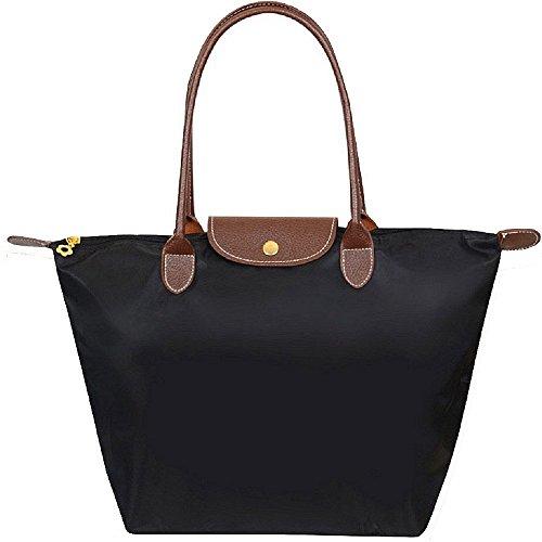 Designer Handtasche Nylon (ZeWoo Frauen stilvolle wasserdichtes Nylon Schultertasche, Frauen Stilvolle Wasserdichtes Handtasche Schultertasche Umhaengetasche Strand Tasche(Groß) (schwarz))