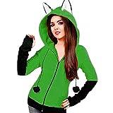 Jaysis Damen Fox Ohren Mit Kapuze Sweatshirts Frauen Langarm Mantel Herbst Hoodie Jacke (XXXL, Grün)