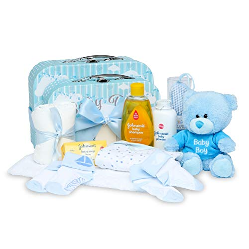 Baby Geschenkset I Geschenk Geburt & Taufe I Originelle Geschenkidee für Neugeborene - Süße Erinnerungsboxen mit Teddy, Kleidung, Lätzchen, Badeschaum - Geschenk zur Geburt Junge