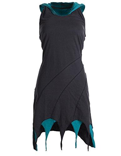Vishes - Alternative Bekleidung - Kapuzen Lagenlook Zipfel-Neckholder aus Bio-Baumwolle schwarz 40-42 -