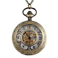X&D Vintage Large Circular Hollow Flower-Shaped Pattern Metal Clamshell Mechanical Pocket Watch Necklace Watch (1Pc)