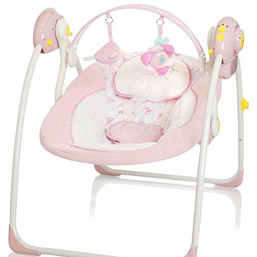 Elektrische Babyschaukel Automatische Baby Wiege Wippe Little World Dreamday rosa
