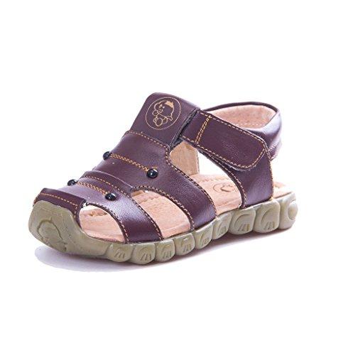 Eagsouni Unisex-Kinder Geschlossene Sandalen aus weichem Leder Outdoor Trekkingsandalen Lauflernschuhe Klettverschluss 21(Schuhe Innenlänge:13cm) Farbe Braun