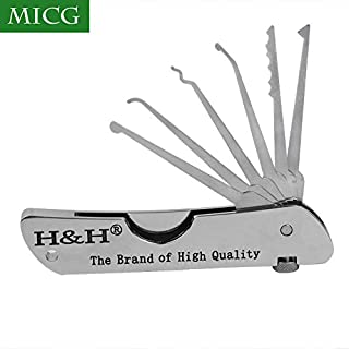 MICG Portable Folding Single Hook Picks Lock Locksmith Padlock Tools Quick Openers Jackknife Training Tool Set for locksmith