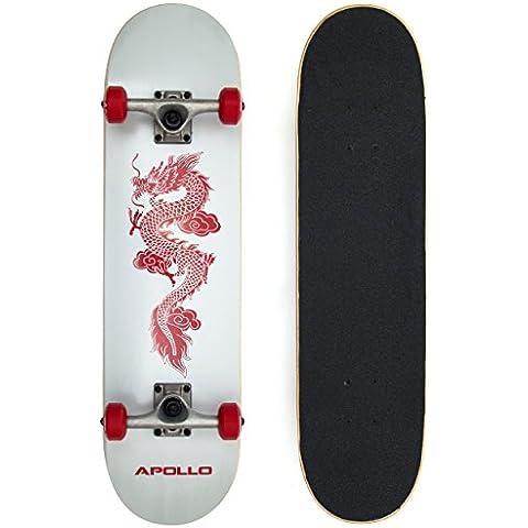 APOLLO Red Dragon tavola completa, skateboard per adulti con motivo drago 78,5 x 20 cm, cuscinetti a sfera ABEC-9, ruote