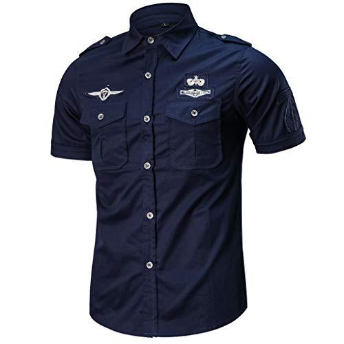 FRAUIT Herren Militär Hemd Mit Militärische Zeichen,Casual Kurzarm Hemden Doppeltasche Lose T-Shirt Outdoor Arbeit Hemd M-5XL