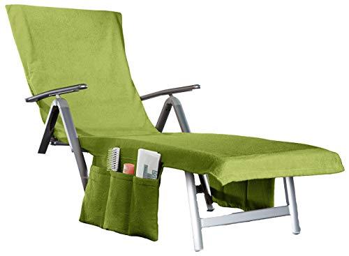 beties 2 in 1 Frottee Liegenauflage Sunny umwandelbar in eine Badetasche + Seitentaschen + Kapuzenüberschlag ca. 70x200 cm Walkfrottee grün Oasis