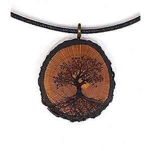 Baum des Lebens Holz Hals-kette - Natur - Holzanhänger - Vegan - Nachhaltig - Astschmuck - Gravur - Yoga - Bedeutung - Geschenk - Natur-Schmuck - Damen - Frauen - Holzschmuck - Hippie