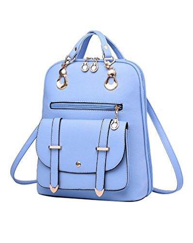 CHENGYANG Ragazze Da Pu Zaino In Pelle For Outdoor Vintage Colore Puro Stile Zaini Blu
