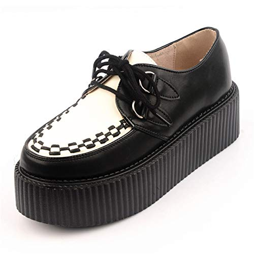 RoseG Mujer Zapatos Cordones Cuero Plataforma Punk Creepers Negro...