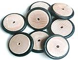 Buche Holzrad mit Gummi 37mm Ø x 8 mm stark mit Bohrung 3.9 mm (10 Stück)