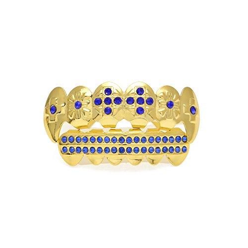 Fiyomet Hip Hop Schmuck Gold Hosenträger Set mit farbigen Diamanten Cool Gold Zähne
