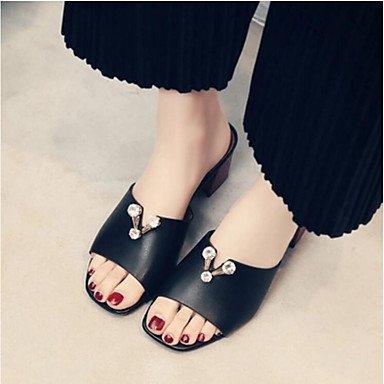 RUGAI-UE Estate Moda Donna Sandali Casual PU scarpe tacchi comfort,Bianco,US8 / EU39 / UK6 / CN39 Black
