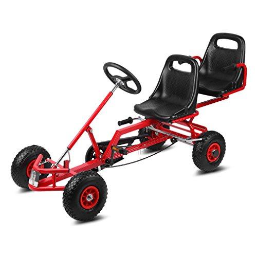 Blackpoolal 2-Sitz Gokart Rennkart Go Kart Kinderfahrzeug Tretauto Gocart Aufblasbare Luftreifen Kinder Go-Kart 4 Räder Stabile Ausführung (Rot)