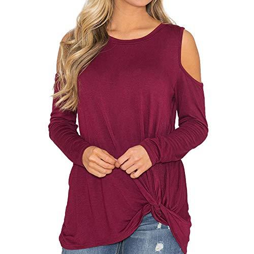 NPRADLA Frauen Langarm Pullover Herbst Basic Shirt Solide Kalte Schulter Rundhals Plissee Bluse Mädchen Beiläufige Lose Tops - Coca Cola Kleid Kostüm