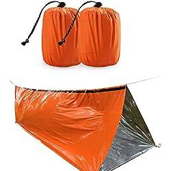 ShenHO Saco de Dormir de Supervivencia de Emergencia, Ligero y Resistente al Agua (Orange, 2-Pack)