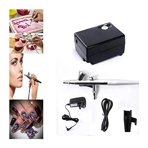 Pinkiou spruzzatori per aerosol pittura per viso con aerografo per tatuaggio temporaneo (nero)