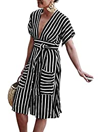 3b81a1af7658 Estivo Donna Senza Schienale Vestiti con Bandage Moda V Collo Maniche Corte Abito  da Partito Cocktail Festa Casual…