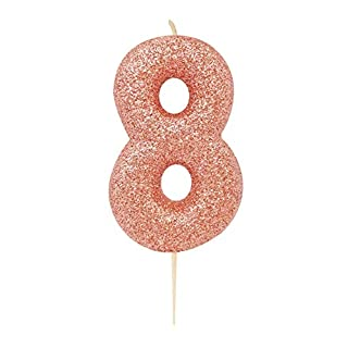 Anniversary House AHC50/8 Rose Gold Number 8 Glitter Candle