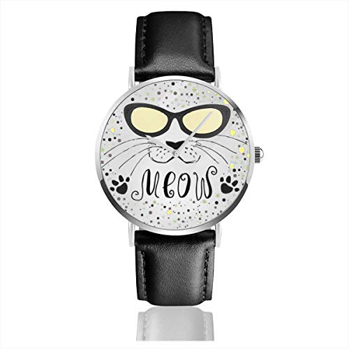 Business Analog Watches,Cute Cat with Glasses, T-Shirt Or Greeting Card, Classic Stainless Steel Quartz Waterproof Wrist Watch with Leather Strap