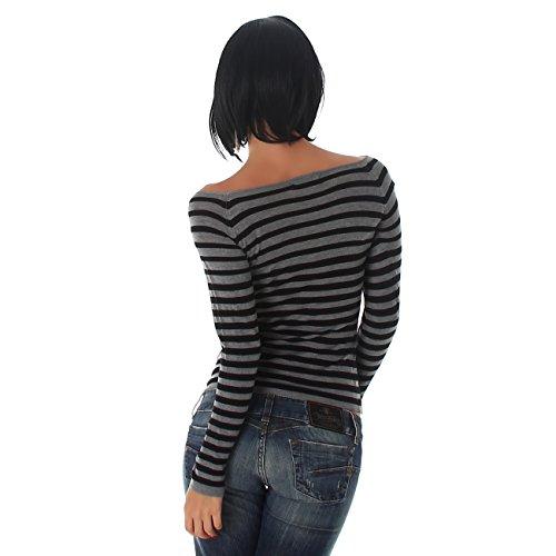 Jela London Damen Pullover mit Streifen Pulli mit langen Ärmeln und Carmenausschnitt in Einheitsgröße (34-38) Grau