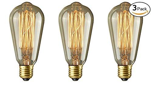 Lightess 3 Bombilla Vintage Bombilla Industrial Bombilla Retro 3*40 Va