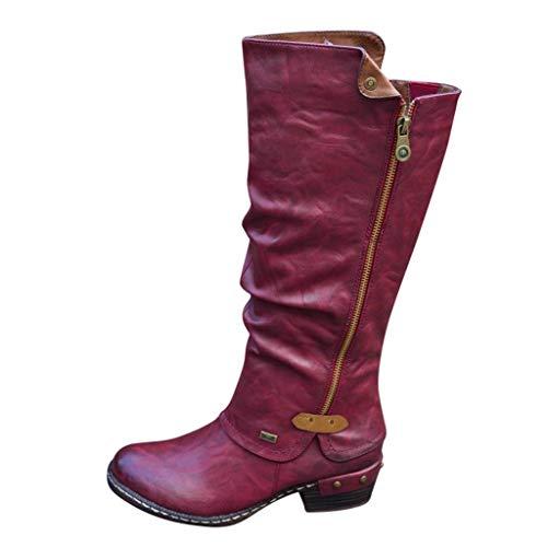ABsoar Lange Stiefel Damen Klassische Leder Boots Knie-hohe Stiefel Mode Reißverschluss Freizeitschuhe Round Toe Stiefeletten mit Blockabsatz -
