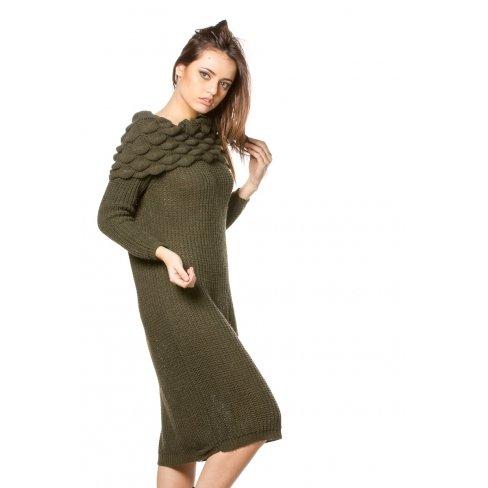 Princesse boutique - Robe pull KAKI col bateau Vert
