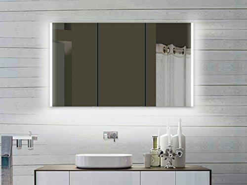 #Lux-aqua Alu Badezimmerspiegelschrank mit Beleuchtung LED – LLC 120×70 cm#