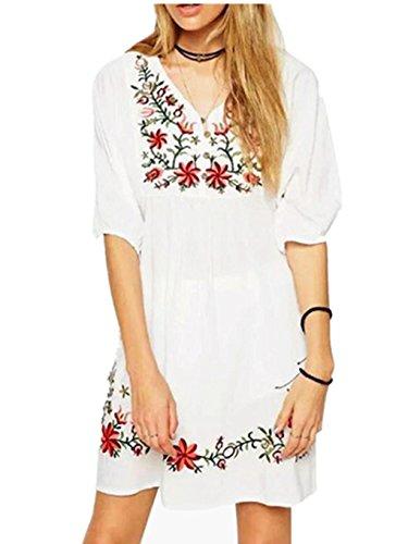 Honestyi Frauen mexikanische ethnische Gestickter Bauer Hippie Bluse Zigeuner Boho Minikleid v Asschnitt Printkleider Casualkleider Partykleider Weiße Kleider (M, Weiß) (Bluse Schulter Bauer)