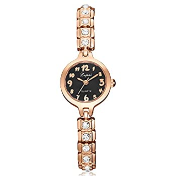 Womens Quartz Watches,ulanda-eu Lvpai Analog Clearance Lady Wrist Watch Female Watches On Sale Watches For Women,round Dial Case Comfortable Stainless Steel Wristwatch M77 (Gold & Black) 0