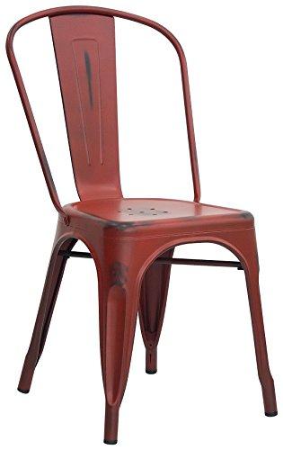 Brianza Outlet Lucy Sedia di Design, Stile Industriale, Metallo, Rosso, 36 x 36 x 85 cm
