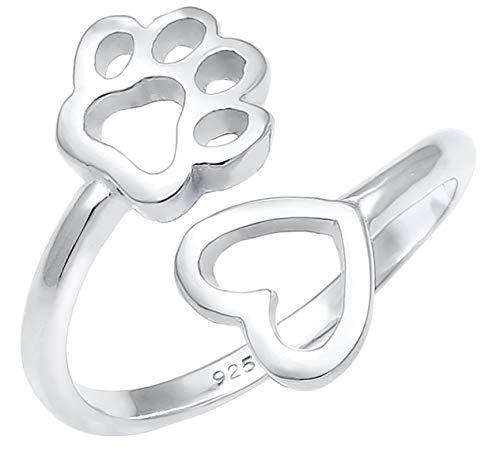 Nenalina Ring Damen Silberring Verstellbar mit Pfote und Herz Symbol offen für Frauen und Mädchen, 925 Sterling Silber, Farbe Silber, 0603591819 (Pfote Silber Ring Sterling)