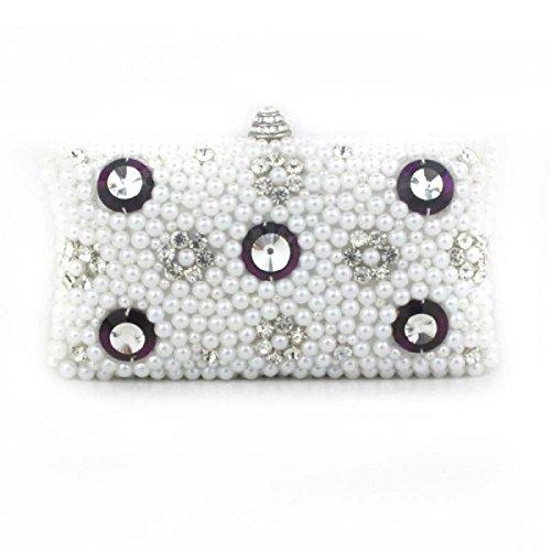 Lady Abendessenbeutel Handgemachte Wulstige Diamant Dame Kleid Tasche Mädchen Umhängetasche White