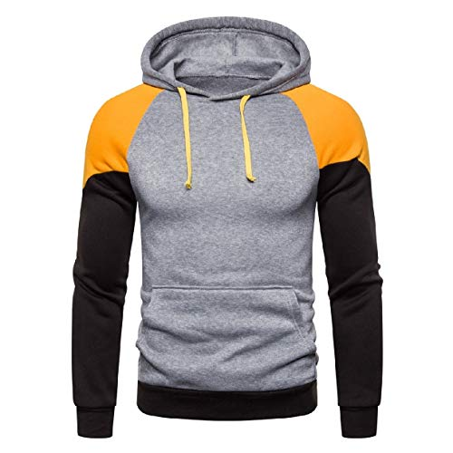 VITryst Mens Pullover Hooded Patchwork Casual Leisure Hooded Sweatshirt Yellow M Youth Zip-front Hoodie