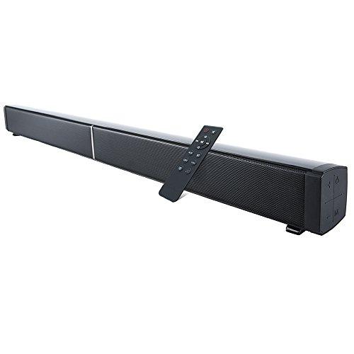 SemFri Soundbar Heimkino Bluetooth 4.0 Lautsprecher 40W mit 2 Bass Reflex Tubes 4 Lautsprecher Fernbedienung und Wandmontage