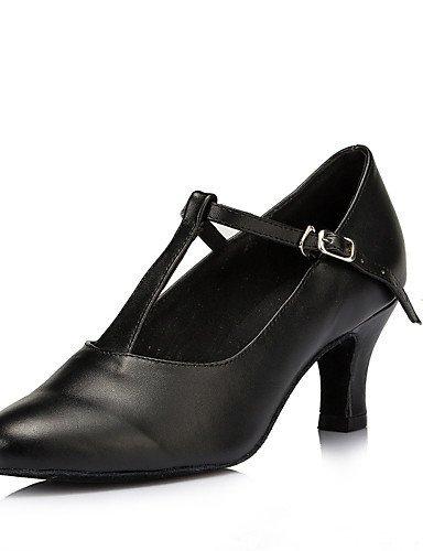 ShangYi Chaussures de danse (Noir) - Non personnalisable - Talon Large - Flocage - Moderne