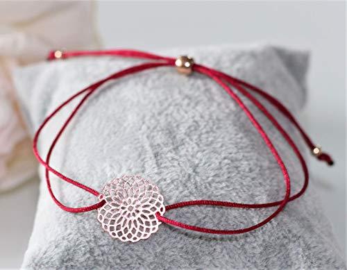 Armband Wunderblume rosegold farben Freundschaftsarmband Makramee Macrame Lebensblume rotgoldfarben Band in verschiedenen Farben erhältlich Blume des Lebens